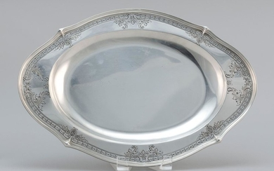 "DOMINICK & HAFF STERLING SILVER PLATTER With chased foliate and husk garland border. Not monogrammed. Length 15.75"". Approx. 25.5 tr..."