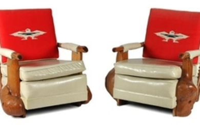 Pair of Western Style Burled Wood Club Chairs by Uptown Furniture Company
