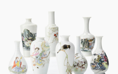 Eight small Chinese famille rose vases