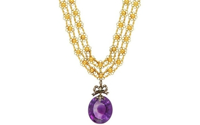 A fancy-link necklace with an amethyst pendant