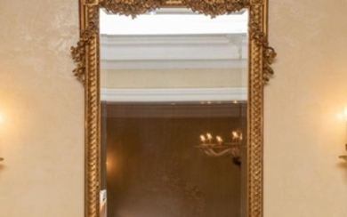 French Gilt & Beveled Mirror - Ribbon Crest