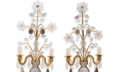 A pair of gilt metal, rock crystal wall sconces