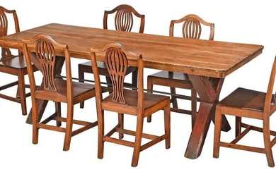 Provincial British Mahogany and Pine Dining Set