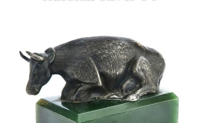 Russian Silver 84 Figurine Cow on Jade
