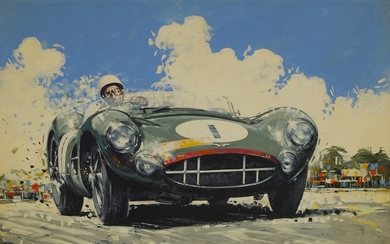 'Stirling Moss - Aston Martin DBR1', an artwork on canvas,