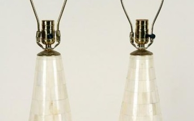 PAIR TESSELLATED CONICAL FORM TABLE LAMPS