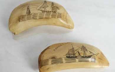 """Two Scrimshaw Tooth Carvings - """"Harriet Lane"""", Oth"""