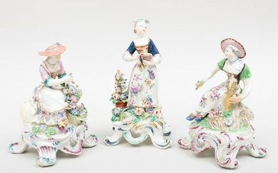 Three Porcelain Figures of Ladies Emblematic of the
