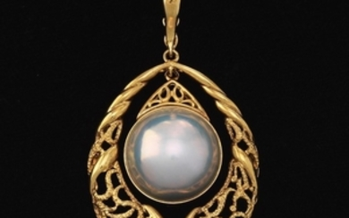 Ladies' Gold and Mabe Pearl Pendant