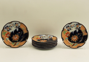 SET OF 8 ENGLISH COBALT AND GOLD HIGHLIGHTED PLATES