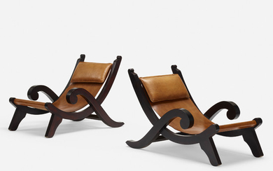 In the manner of Clara Porset, Miguelito lounge chairs, pair
