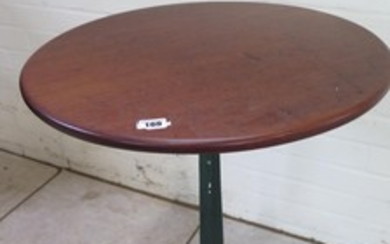 A mahogany side table on a painted cast iron base