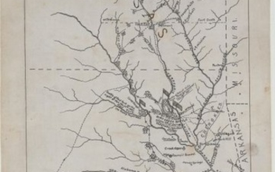"""""""[Manuscript Civil War Map] Retreat of the Loyal Indians from the Indian Country Under A-Poth-Yo-Ho-Lo in the Winter of 1861"""""""