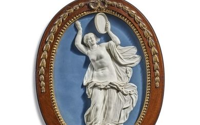 A WEDGWOOD AND BENTLEY BLUE AND WHITE JASPERWARE OVAL PLAQUE CIRCA 1768-80