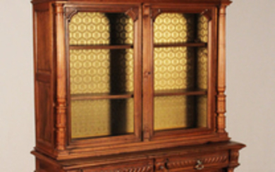 LOUIS XV STYLE FRENCH SOLID WALNUT BIBLIOTHEQUE