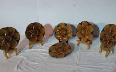 SET OF 6 EARTHY GREEN AND AMBER FAIENCE OYSTER PLATES