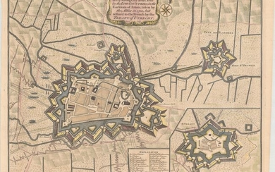 """""""Plan of the City of Aire and of Fort St. Francis with a View of St. Venant / Aire A Very Strong City and Castle in the Low Countries, in the Earldom of Artois, Taken by the Allies in 1710, but Restor'd to the French by the Treaty of Utrecht"""", Tindal,..."""