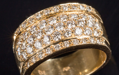 Ring with brilliant cut diamonds, 750 gold