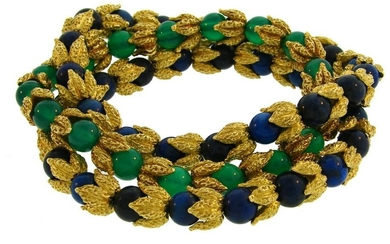 1970s French Chrysophrase Sodalate Yellow Gold Bead