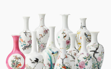 Eleven miniature Chinese vases