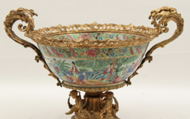 FRENCH BRONZE MOUNTED PORCELAIN COMPOTE