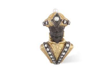 A GOLD AND DIAMOND BLACKAMOOR...