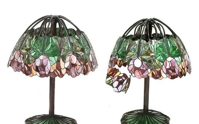 Pair of Impressive Bronze Art Nouveau Lamps with