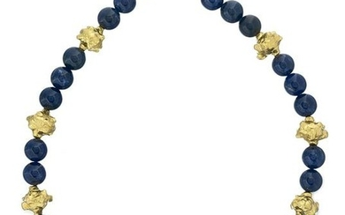Jean Mahie Lapis Lazuli and Gold Necklace