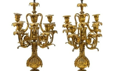 A Pair of Louis XVI Style Gilt Bronze and Onyx