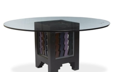 A painted wood and glass dining table 20th century...