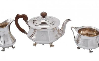 A Scottish silver circular three piece tea service by James Weir