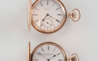 Two 14kt Gold Elgin Hunter-case Watches