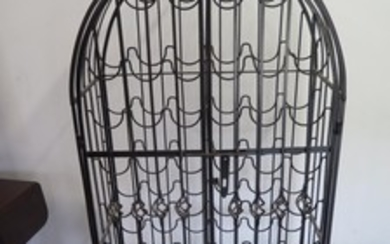 A wrought iron work 52 bottle wine rack with two doors - 152...