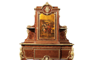 A fine French late 19th century kingwood, parquetry, brass strung and gilt bronze mounted cabinet