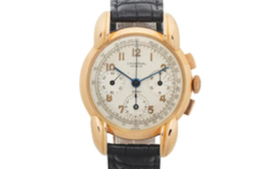 Universal Genève. An 18K rose gold manual wind chronograph wristwatch with oversized lugs
