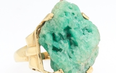 Ladies' Gold and Green Crystal Ring