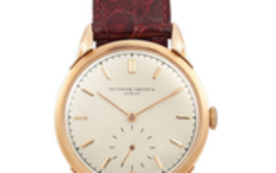 Vacheron Constantin. A Fine Large Pink Gold Wristwatch with Fancy Lugs