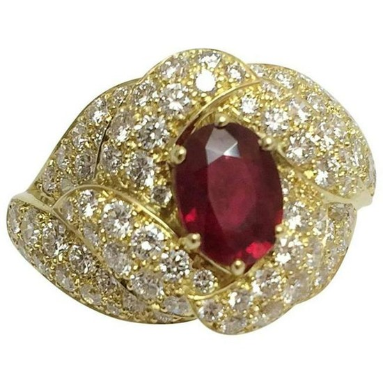 Boucheron Oval Ruby Diamond Gold Ring