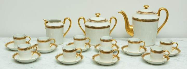 French Limoges Gold Banded Coffee Set