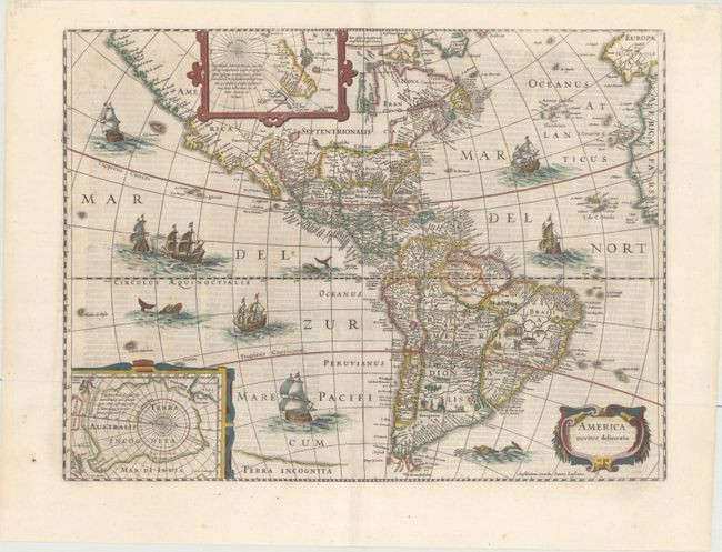"Jansson's Decorative Map of the Americas, ""America Noviter Delineata"", Hondius/Jansson"