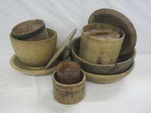 Rustic Antique Wooden Bowls Dishes