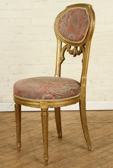 SINGLE FRENCH GILT WOOD SIDE CHAIR CIRCA 1910