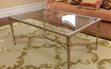 Silvered Iron Glass Top Coffee Table
