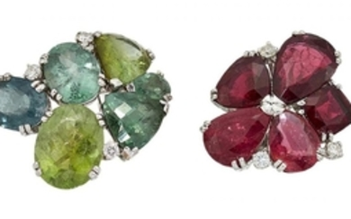 Two tourmaline and diamond rings of abstract...