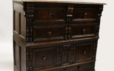 A 17TH CENTURY OAK FOUR DRAWER CHEST with plain three