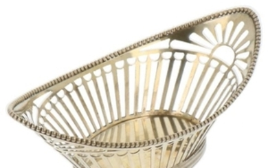 Pastille dish oval boat model with openwork legs and soldered pearl rim silver.