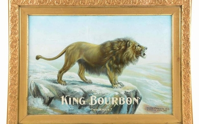 "KING BOURBON ""TWO KINGS"" TIN LITHO ADVERTISING SIGN."