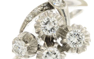 A mid 20th century platinum diamond dress ring.