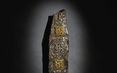 A RARE GOLD AND SILVER-INLAID IRON BELT HOOK EASTERN ZHOU DYNASTY, WARRING STATES PERIOD