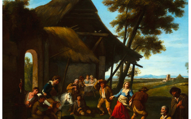 21007: French School (18th Century) A country dance Oil
